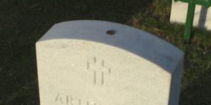 Penny on Dad's gravestone